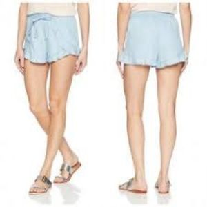 NWT GUESS Los Angeles chambray tulip short blue